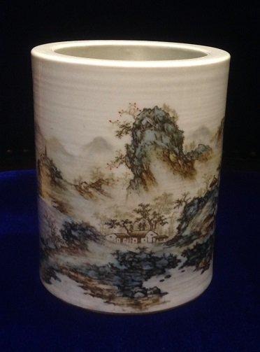 Antique Porcelain Brush Holder