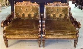 Pair of Carved Wood Club Chairs with Green Velvet.
