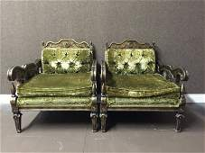 PAIR OF CARVED WOOD CLUB CHAIRS