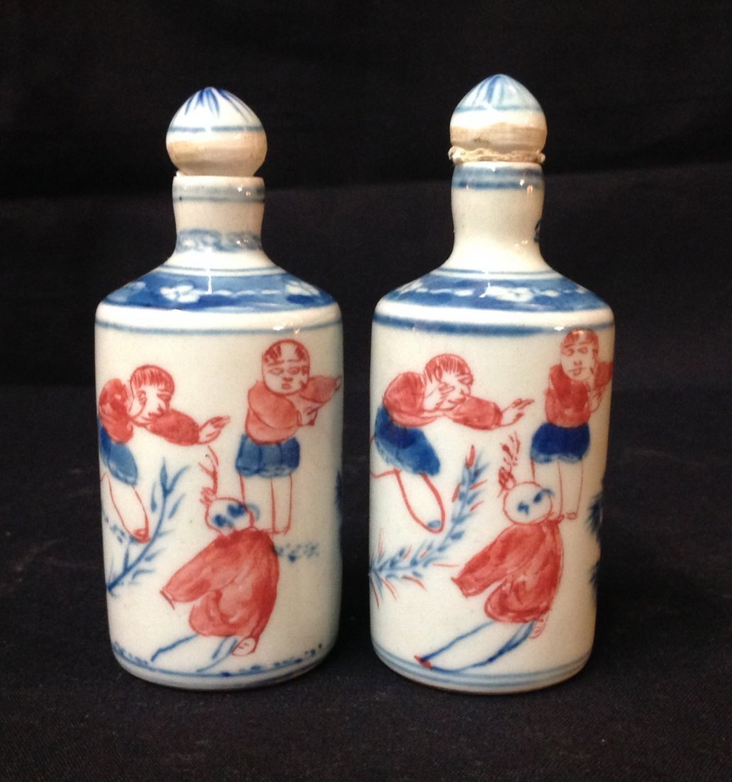 PAIR OF QING BLUE AND WHITE RED SNUFF BOTTLE