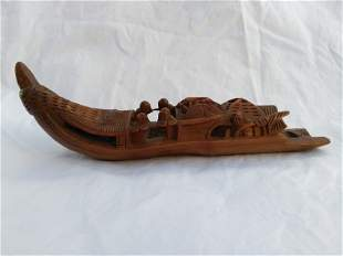 Chinese Bamboo Carving Boat