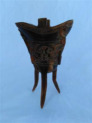 Chinese Horn Carving Cup