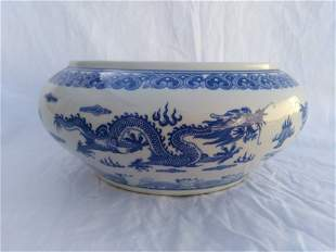Chinese White and Blue Porcelain Water Pot