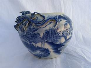 Chinese White and Blue Porcelain With Dragon Water Pot