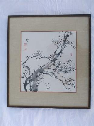 Four Chinese Paintings Plum Orchid Bamboo Chrysanthemum