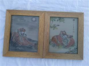Two Chinese Tiger Paintings