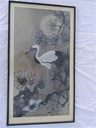 Chinese Crane Painting by De Lan.