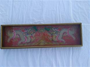 Asian Two Dragons Gold plate Embroidered
