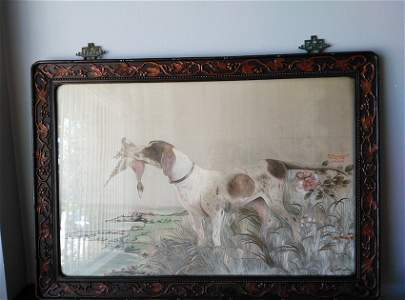 19th Century Chinese Export Embroidery Panel of Dog