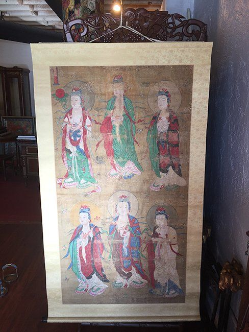 Antique Chinese Buddha Painting Scroll