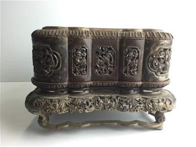 Antique Chinese Zitan Carving Box Inlaid Jade