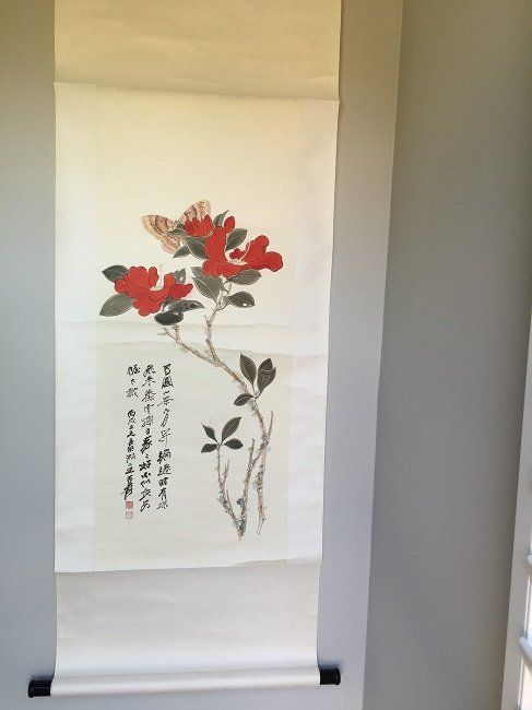Chinese Painting Scroll Flower & Butterfly