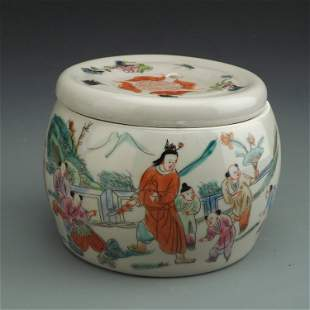 China ROC Famille Rose Cover Jar