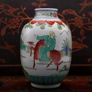 Chinese Wucai Guanyin Vase