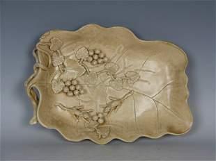 Qing Carved Porcelain Leaf Washer