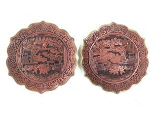 Pair of Carved Lacquer Handing Bronze Plate