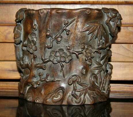Antique Chinese Carved Chen Xiang Brush Holder