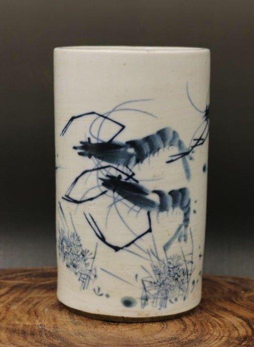 China ROC Blue and White Brush Pot
