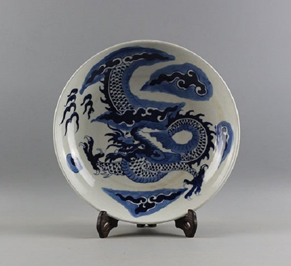 Antique Blue and White Dragon Plate