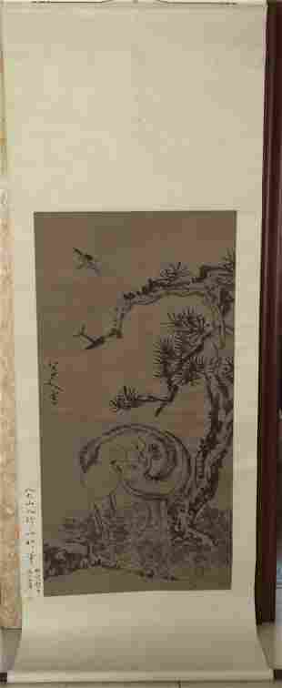Chinese Painting Scroll Flower and Birds