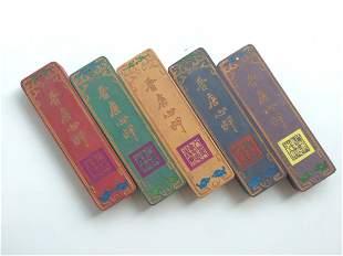 Five Pieces Qing Qianlong Wu Cai Ink Stick