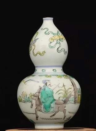 Antique Chinese Wu Cai Double-Gourd Vase