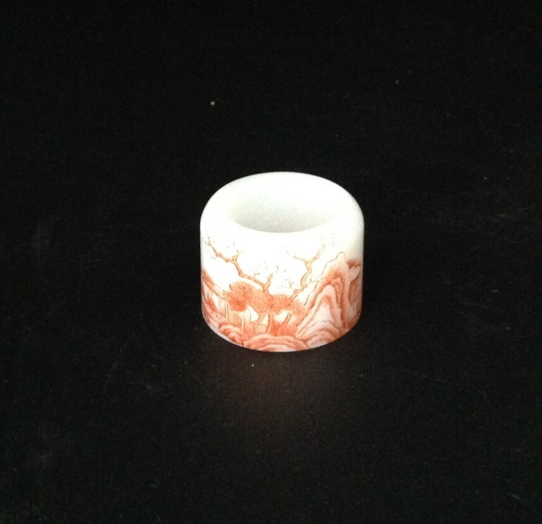 Qing Qianlong White and Iron-Red Glass Ring