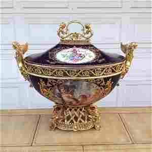 Large Serves Style Tureen W/ Bronze Mount and Cover
