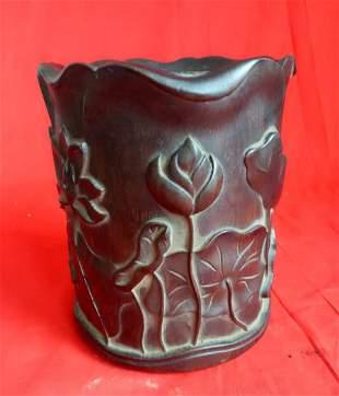 Antique Chinese Carved Lotus Zitan Wood Brush Pot