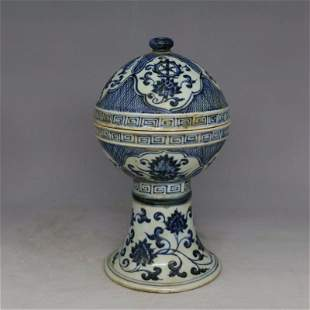 Antique Chinese Blue and White Stem Bowl with Cover