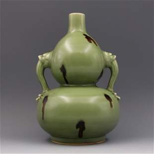 Chinese Longquan Celadon Double-Gourd Vase