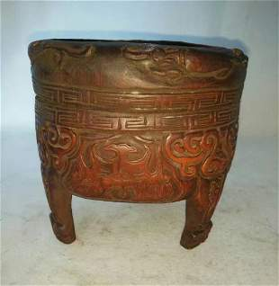 Antique Chinese Bamboo Carved Aromatherapy