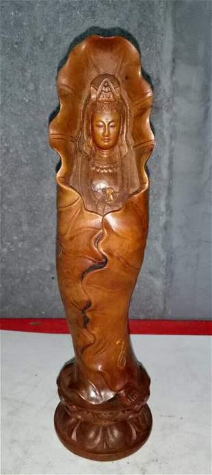 Antique Chinese Huangyang Wood Guanyin