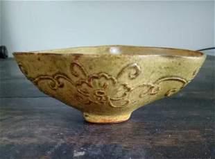 Antique Chinese Celadon-Glazed Carved Washer