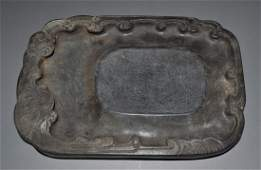 Qing Dynasty Carved Seawater Pattern Ink Stone