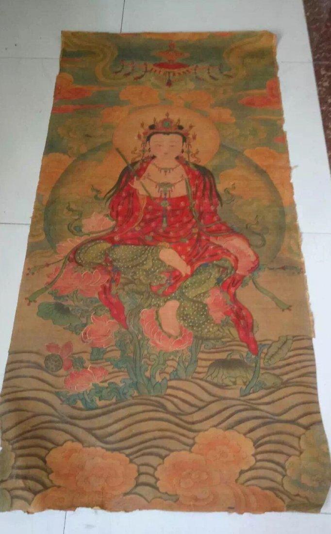 A Fine and Rare Embroidered Thanka of The Buddha