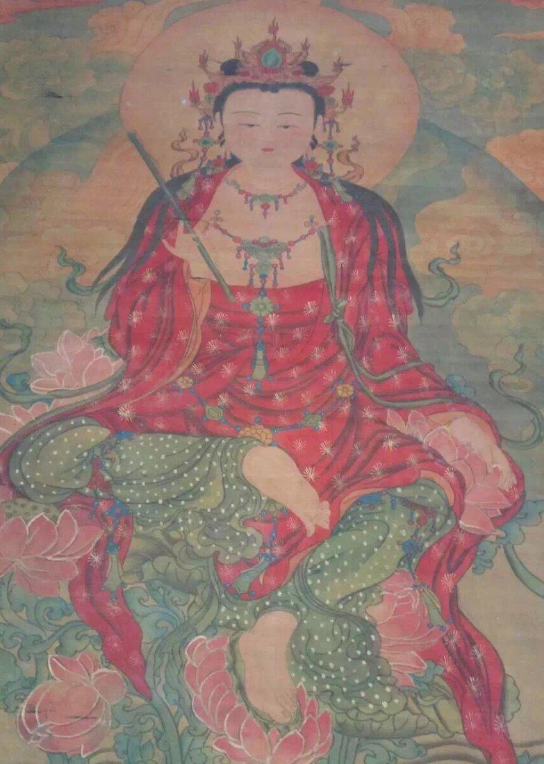 A Fine and Rare Embroidered Thanka of The Buddha - 3
