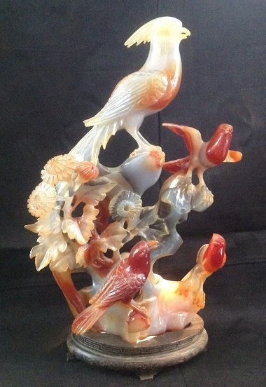 Qing Dynasty Agate Flower and Birds Decoration
