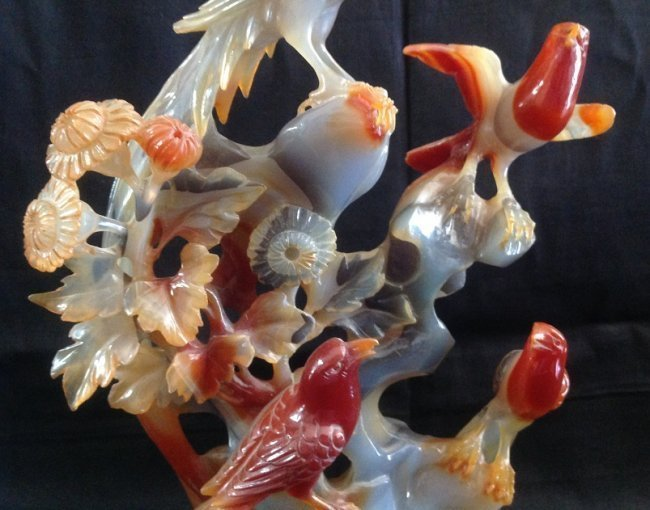 Qing Dynasty Agate Flower and Birds Decoration - 4
