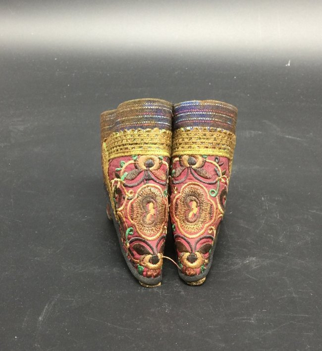 Pair of Antique Chinese Embroidered Shoes