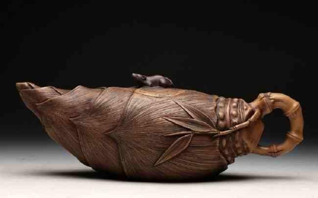 Chinese ZIsha Bamboo Shoots Teapot