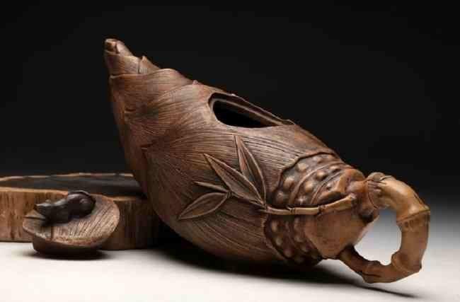 Chinese ZIsha Bamboo Shoots Teapot - 3