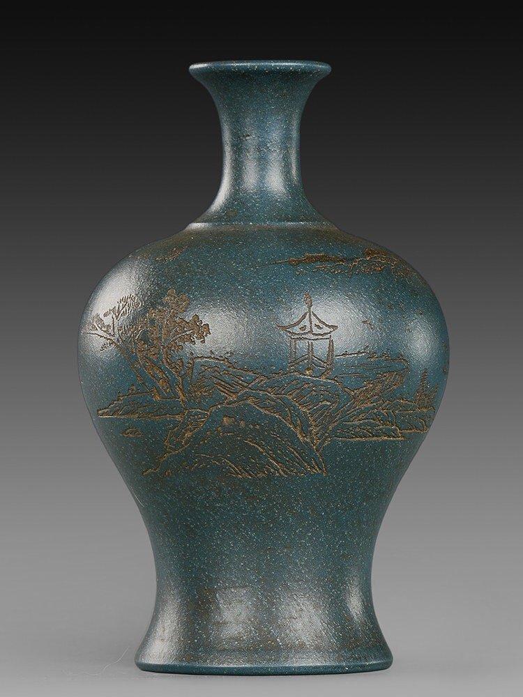 Antique Chinese Green Zisha Vase