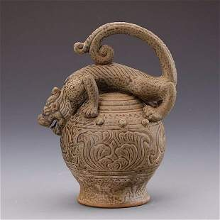 Chinese Yueyao Carved Celadon Beast Pot