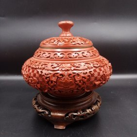 Antique Chinese Carved Cinnabar Lacquer Jar with Cover