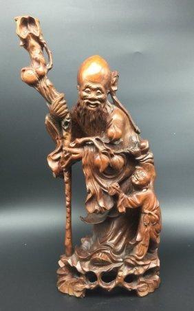 Qing Dynasty Huangyang Wood Carved Longevity God