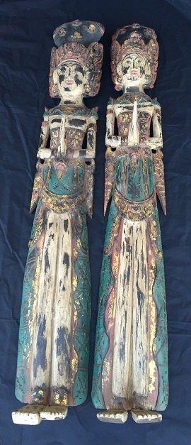 Pair of Thai Gilt Gold Carved Wood Buddha