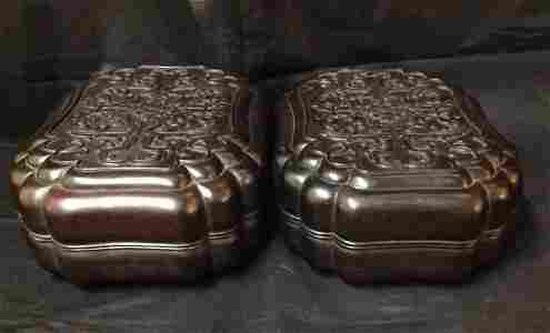 Pair of Qing Dynasty Carved Zitan Box
