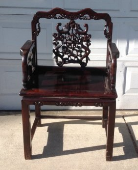 Qing Hardwood Carved Armchair
