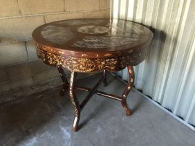 Two Part Chinese Marble Insert and Inlaid Center Table